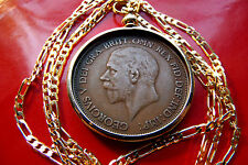 "1936 English Rare King George V Penny Coin Pendant 24"" Gold Filled Figaro Chain"