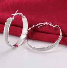 Fashion 18k White Gold Plated Crystal Dust Hoop Earrings for Women Jewelry Pair