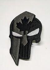 PUNISHER SPARTAN HELMET CANADA FLAG MORALE PATCH BLACK UNIFORM ARMY BADGE