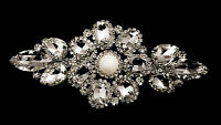Diamante Motif Applique Rhinestone Sew on Wedding Silver Crystal Patch A501