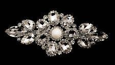 Diamante Motif Applique Rhinestone Sew on Wedding Silver Crystal Patch A501