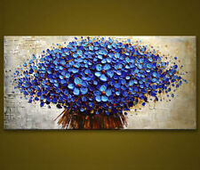 Modern Abstract Huge Canvas Wall Oil Painting:blue tree unframed
