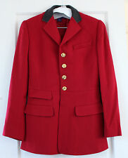 Ralph Lauren red equestrian jacket w/ leather collar-Made in USA-Size US 2/UK 6