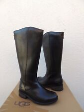 UGG SELDON TALL BLACK LEATHER/ SHEARLING WINTER BOOTS, US 8.5/ EUR 39.5  ~NEW