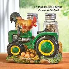 Country Farm Chicken Rooster Tractor Salt & Pepper Shakers Set Kitchen Decor
