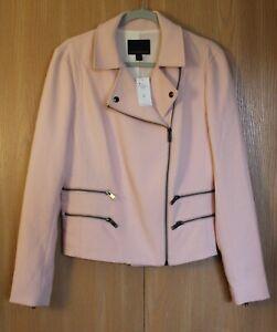 Banana Republic Baby Pink Double Zipper Moto Jacket Size 10 Tall NWT