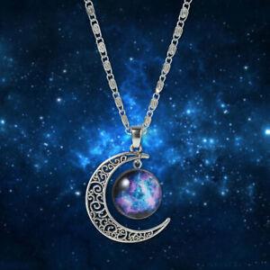 1xGalaxy Universe Crescent Moon Glass Cabochon Pendant+ Necklace+Pouch(WS084050)