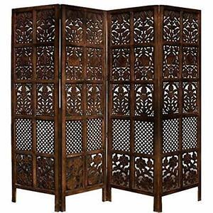 Indian Antique Furniture Handcraft Wooden Partition Screen Room Divider 4 Panels