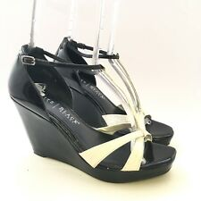 White House Black Market 7 M Wedge Sandals Open Toe Ankle Strap Womens Shoes