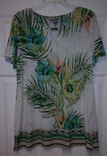 JM COLLECTIBLES Elegant Tropical Print Blouse Ladies L