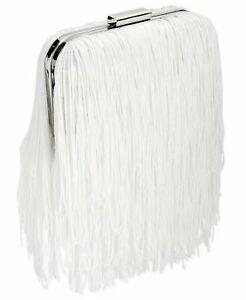 INC Colie White Clutch Fringe Trend Party Handbag MSRP $79