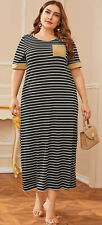 Womens Plus 4XL Striped Long Length Maxi Tee Dress New in Package