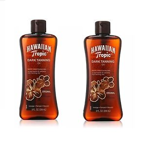 2 Hawaiian Tropic Dark Tanning Oil Lotion Coconut Sun Care Skin Moisturizing 8 z