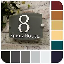 MODERN HOUSE SIGN DOOR NUMBER PLAQUE STREET ADDRESS PLATEs GLASS SLATE EFFECT