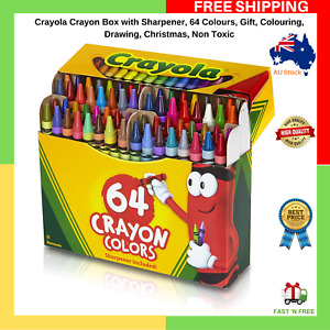 Crayola Crayon Box With Sharpener 64 Colours Gift Colouring Drawing Non Toxic AU