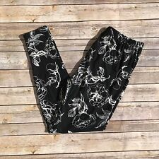Black and White Floral Flower Women's Leggings PS Plus Size TC 12-20 Soft as LLR