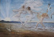 "Pre-Raphaelite Painting ""Sea Nymphs"" by Estella Canziani / English Arts & Crafts"
