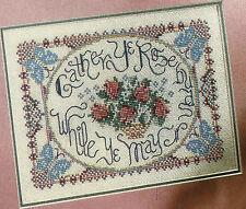 Gather Ye Rosebuds Sampler Cross Stitch Pattern Chart from a magazine