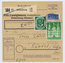 Bizone/Bauten, 97IIeg MiF 128,  Paketkarte Dillenburg 15.11.52