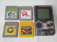 L169 Nintendo Gameboy Pocket Console Clear Purple & 4 game Japan GBC Fast