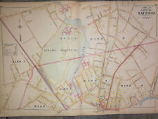 Antique Taunton Mass. Lunatic Hospital 1800s large hand colored  map Vintage1895
