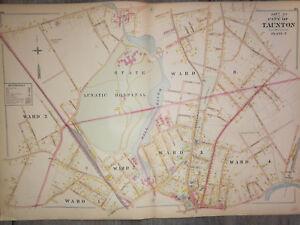 Antique Taunton Mass. Lunatic Hospital 1800s large hand colored  map Vintage1895
