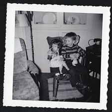 Vintage Antique Photograph Little Boy Sitting w/ Little Girl and Doll in Chair