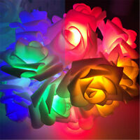 20 LED Battery Operated Rose Flowers String Fairy Lights Home Bedroom Indoor TS