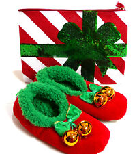 Womens XL Ugly Christmas Xmas Snoozies Slippers + Mud Pie Make Up Bag Size 11-12