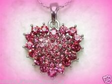 Mothers Day Gift For Mom Her Rose Pink Crystal Rhinestone Silver Heart Necklace