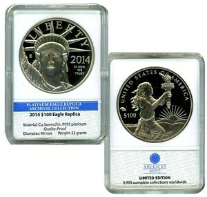 2014 $100 PLATINUM EAGLE COMMEMORATIVE COIN PROOF LUCKY MONEY VALUE $99.95