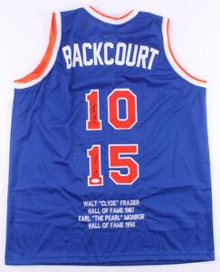 Walt Frazier & Earl Monroe Signed New York Knicks Highlite Stat Jersey (JSA COA)