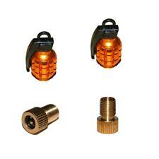 2er Set Ventilkappen und 2 Fahrrad Adapter - Handgranate - in gold für jedes  ..