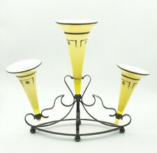 Art Nouveau Epergne EPNS Stand And Glass Flutes Yellow Beautiful