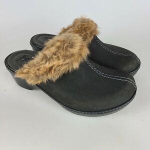 Crocs 16288 Cobbler Women's Faux Fur Trim  Leather Slip-on Rubber Mules Size 9