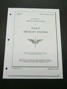 1943 AAF L-5 Lycoming O-435-1 Aircraft Engine Service Instructions Manual
