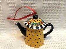 Mary Engelbreit-Gold/Black Polka Dot/Floral Teapot-Ornament