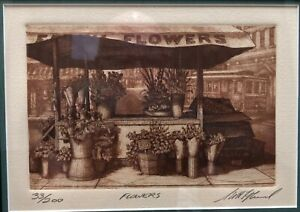"""Scott Fitzgerald etching, """"Flowers""""  signed, numbered 33/200 Franed"""