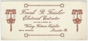 1920s Lancaster Pennsylvania Electric / Lighting Contractor Advertising Blotter