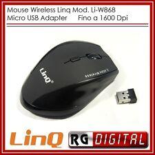 Mouse Wifi Linq Li-W868 1600Dpi 10 Metri Ergonomico 2,4 Gh 5 tasti senza fili