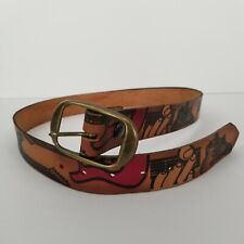 Genuine Country and Western Mens Belt 34 Made in USA Music Guitar Themed