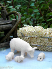 Miniature Dollhouse Fairy Garden Accessories ~ Set 4 Rustic Pig & Piglets ~ New