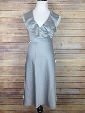 J.Crew Size 2 Aluminum Gray Rosalind Dress Sleeveless Ruffle Neck NWT