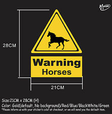 Horse warning sign stickers reflective countryside farm animal decals best gifts