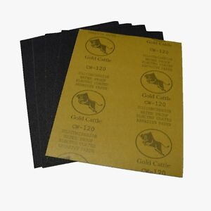 """WET AND DRY SANDPAPER 120 GRIT SAND PAPER 9"""" x 11"""" SANDING SHEETS"""