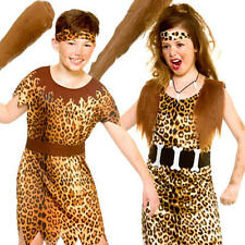 Stone Age Cave Kids Fancy Dress Animal Print Jungle Babarian Childrens Costumes