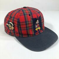 Vintage Mickey Unlimited Snapback Hat Cap Plaid Red Mickey Mouse Disney Minnie