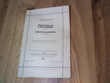 Prest-O-Weld Welding Blowpipe Type W-105 Instructions ILLLUS 1937