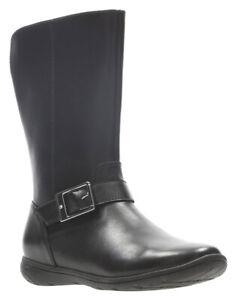 Clarks Girls VENTURE MOON Black Leather Mid Calf School Boots 10 - 2 FG Fit BNIB