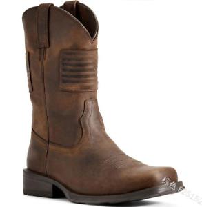Retro Mens Floral Craved PU Cowboy Mid-Calf Boots Square Toe Knight Shoes Zha19